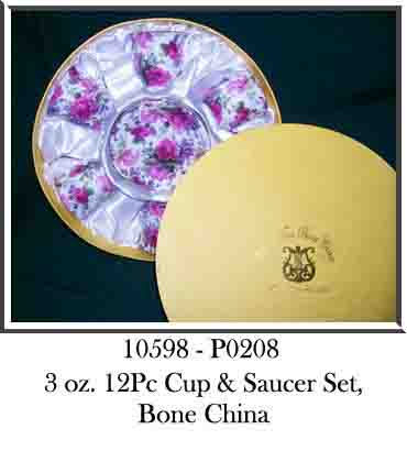 10598 - P0208 3oz 12Pc Cup & Saucer Set