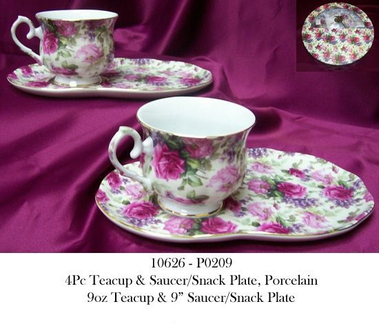 10626 - P0209 4Pc Porcelain Teacup & Snack Plate