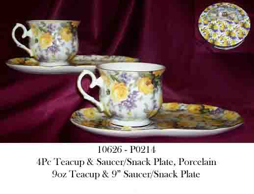10626 - P0214 4Pc Porcelain Teacup & Snack Plate