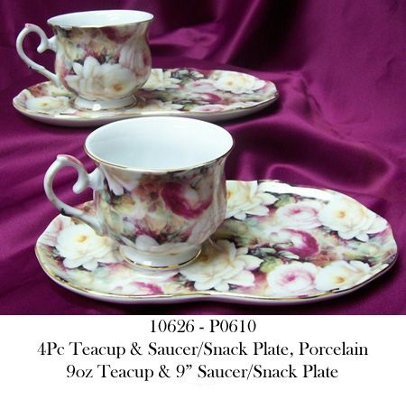 10626 - P0610 4Pc Porcelain Teacup & Snack Plate