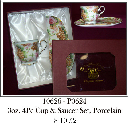 10626 - P0624 3oz 4Pc Cup & Saucer Set