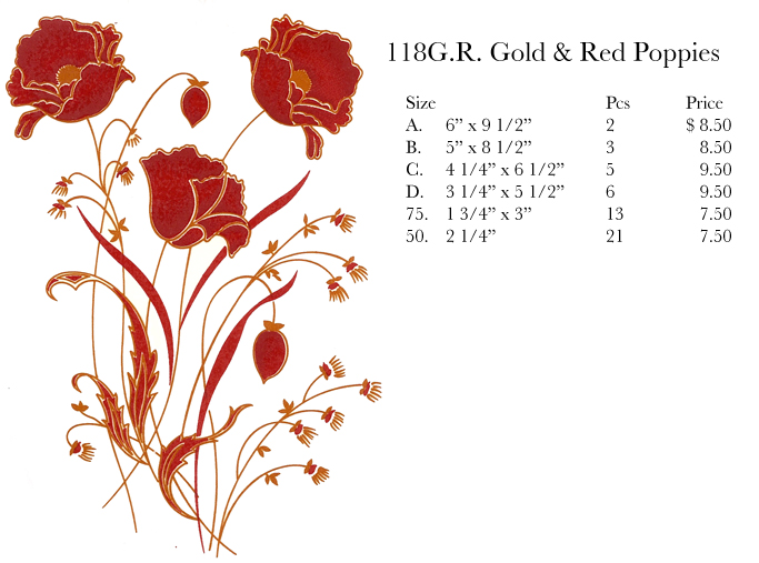 118GR Gold & Red Poppies
