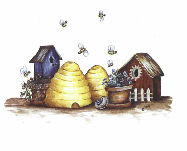 OL4992 BEE HIVES & BIRD HOUSES