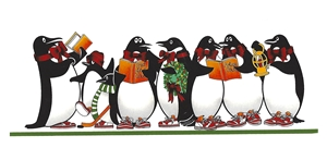 OLN 247 PENGUINS ON HOLIDAY CARDS