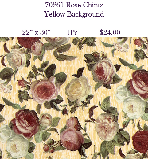70261 Rose Chintz - Yellow Background