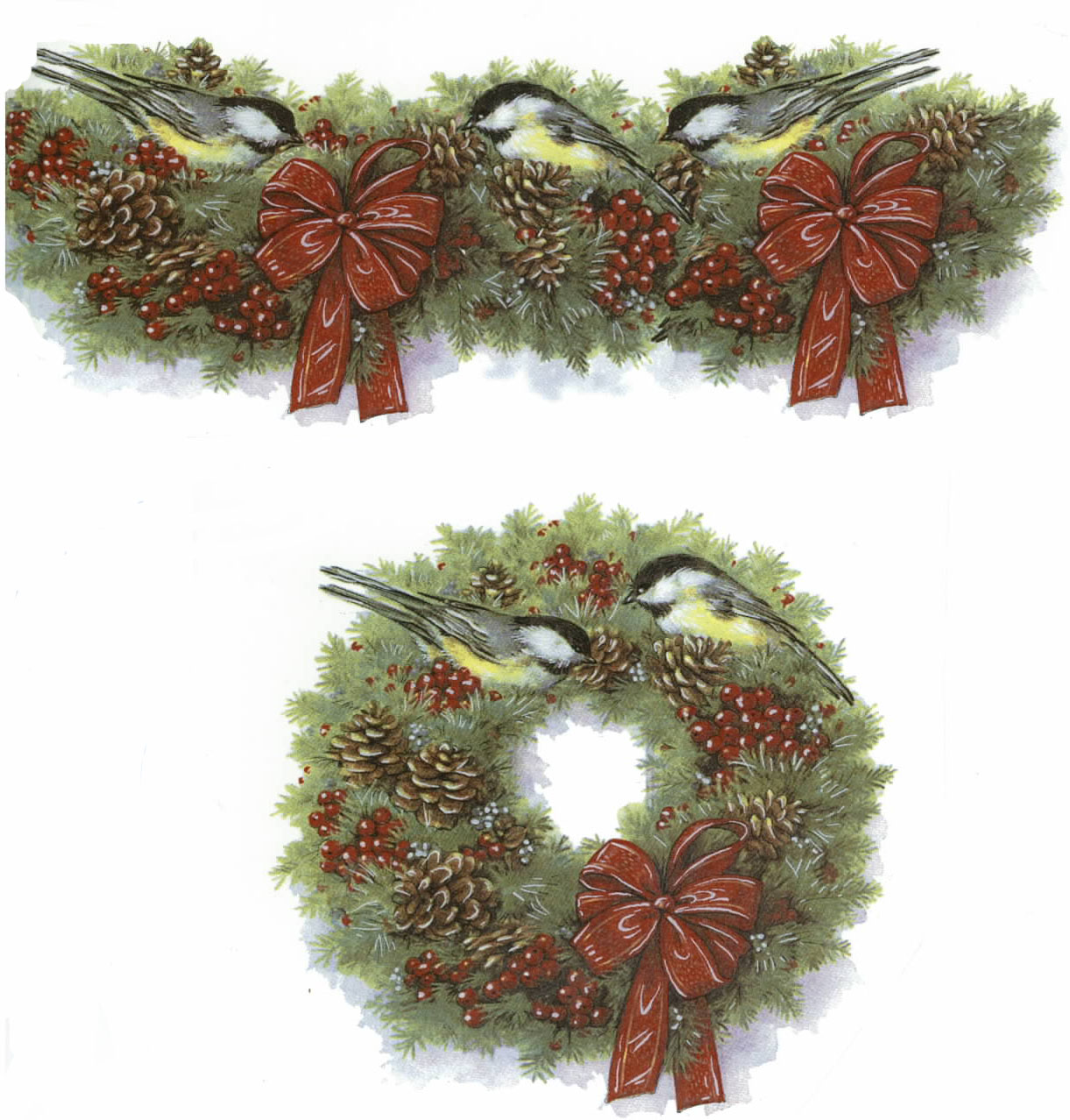 OL4727 WREATH WITH CHICKADEES & RED RIBBON