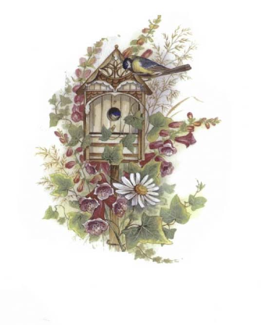 OLY55 BIRDHOUSE WITH DAISY
